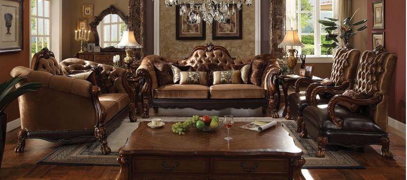 Pisa Formal Living Room Set in Brown Velvet