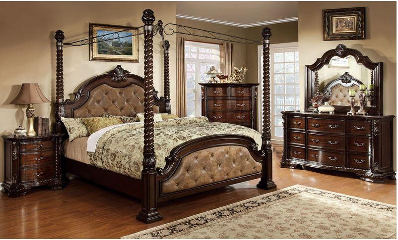 Preston Canopy Bedroom Set in Brown