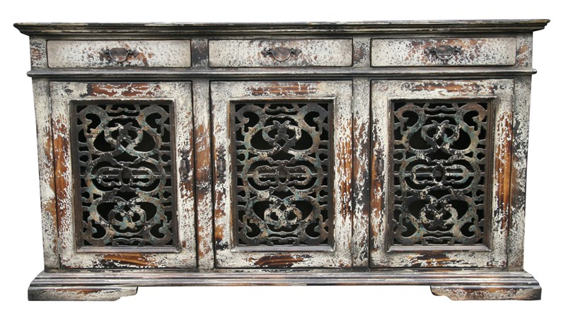 Old World White Rustic Buffet