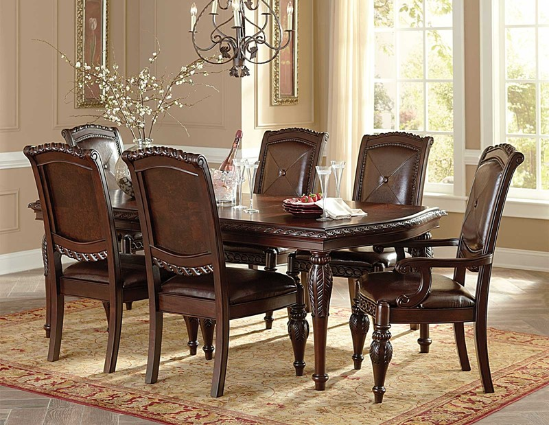 Gable formal cherry dining room table set von furniture for Cherry dining room chairs