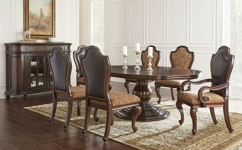 Von Furniture | Angelina Formal Dining Room Set with Round to Oval ...