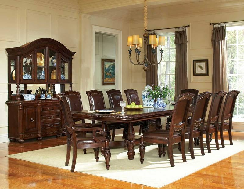 antoinette formal dining room set with pedestal table - Dining Room Furniture Dallas