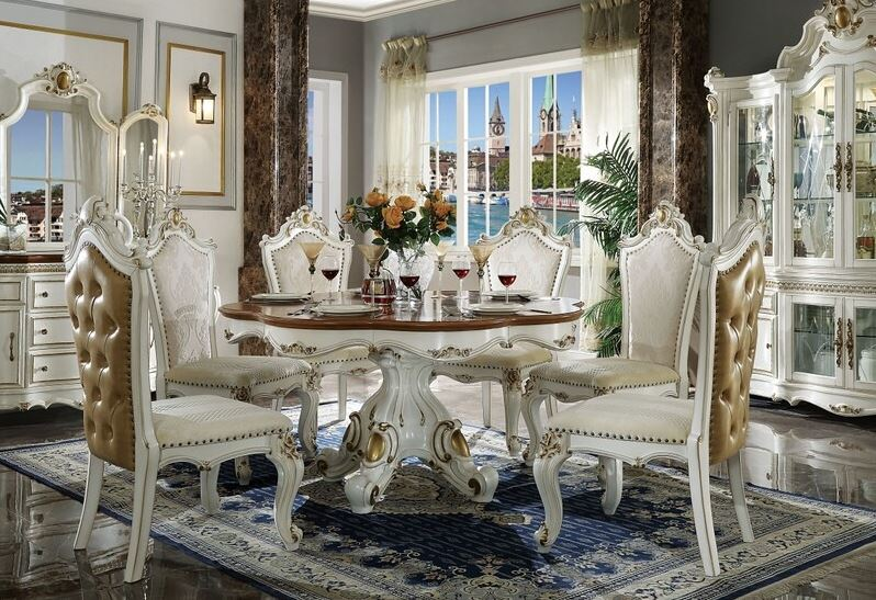Summer Formal Dining Room Set with Round Table in Antique Pearl with Cherry Oak Accents