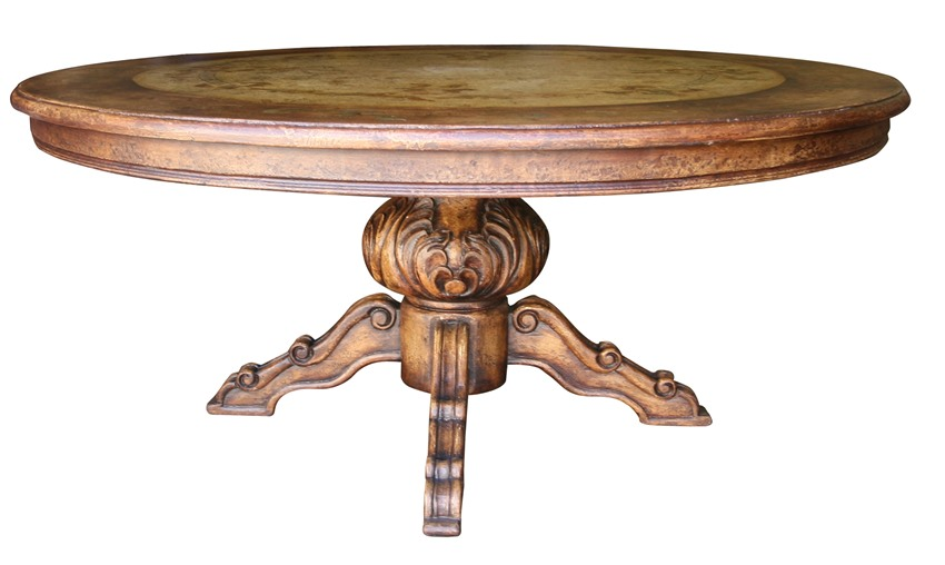 Old World Rustic 60 Pedestal Table Hand Painted Quality  : TorinoRoundRusticDiningTable from vonfurniture.com size 850 x 508 jpeg 71kB