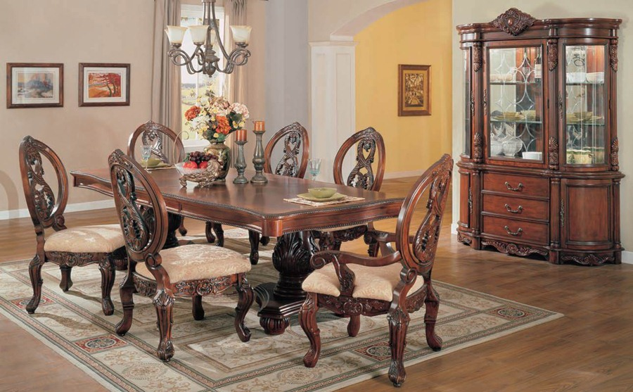 Turnbridge formal cherry dining room set with pedestal for Cherry dining room table