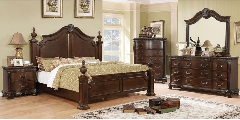 Verona Bedroom Set in Brown Cherry