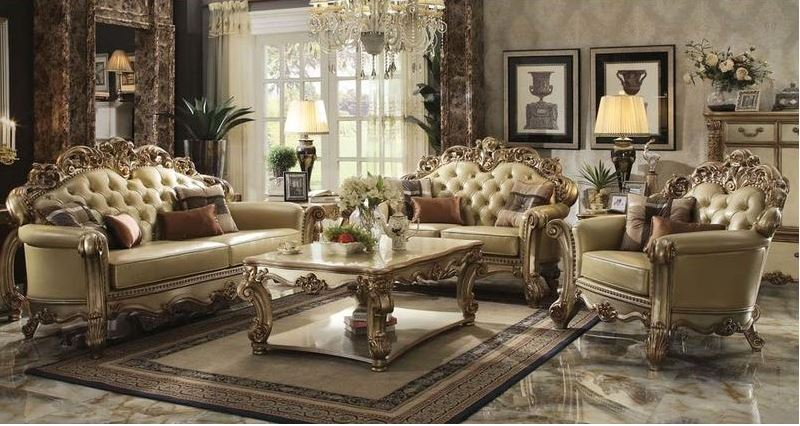 541489 Walther Formal Living Room Set in Gold | Von Furniture | Free  Shipping