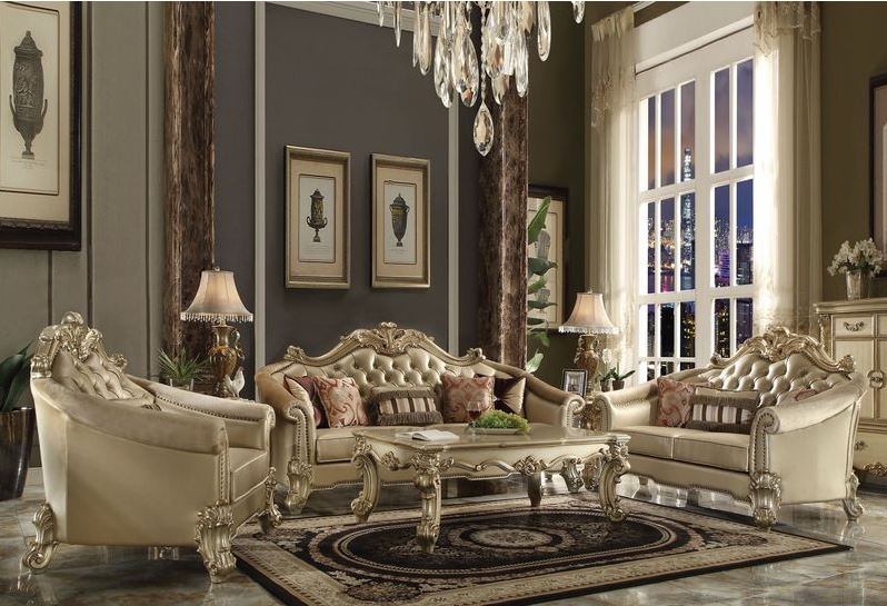 Walther Formal Living Room Set in Gold