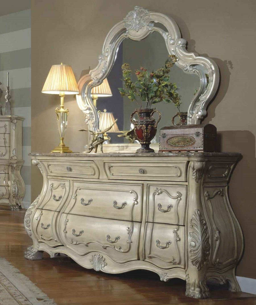 Victorian style antique white master bedroom set with - White vintage bedroom furniture sets ...