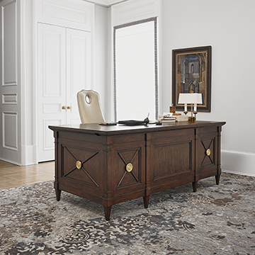 Solid Mahogany Wood Executive Office Desk with Brass Accents
