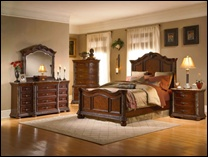 Torrance Cherry Bedroom Set with Marble Accents