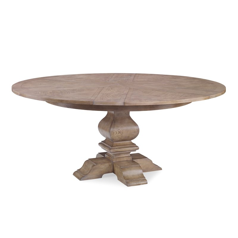 55 inch - 70 inch Round Solid Oak Wood Table with Pedestal in Light Brown Oak Finish
