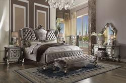 Versailles Bedroom Set in Platinum Velvet
