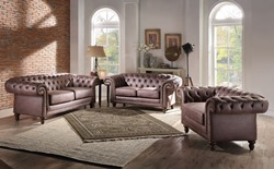 Shantoria Formal Living Room Set in Brown Microfiber