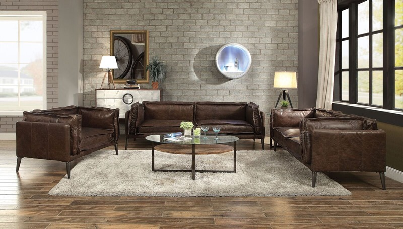 Porchester Leather Living Room Set