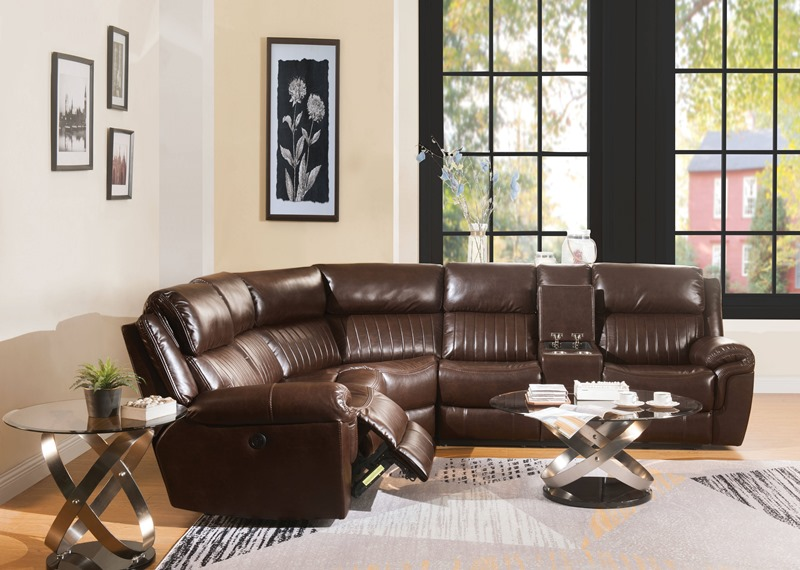 Lonna Reclining Sectional in Brown