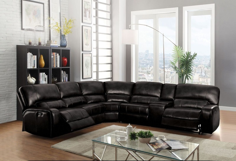 Saul Reclining Sectional in Black