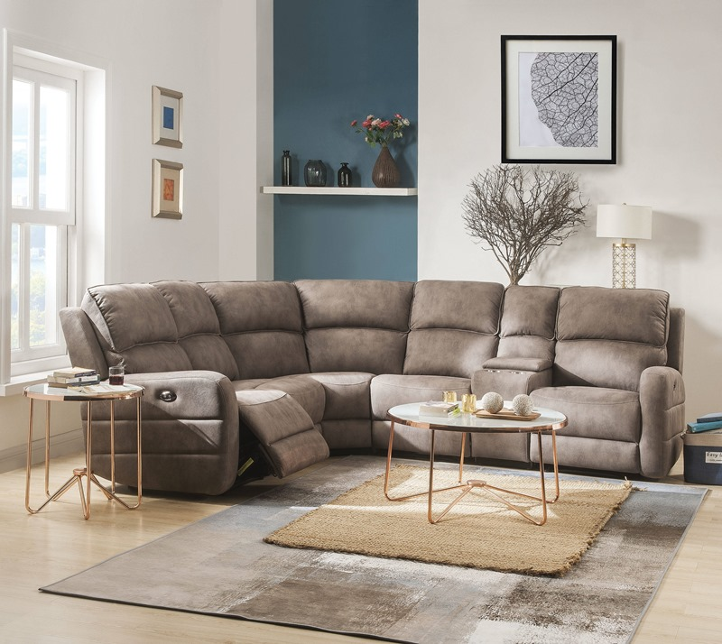 Olwen Reclining Sectional in Mocha