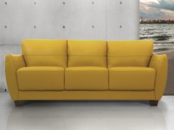 Valeria Leather Living Room Set in Mustard