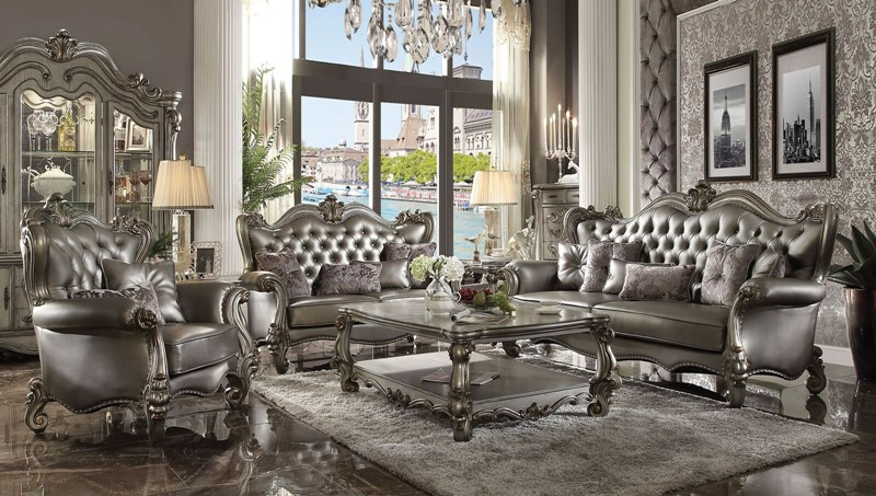 Versailles Formal Living Room Set in Platinum