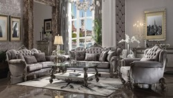 Versailles Formal Living Room Set in Silver Velvet