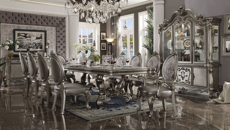 Versailles Formal Dining Room Set in Platinum