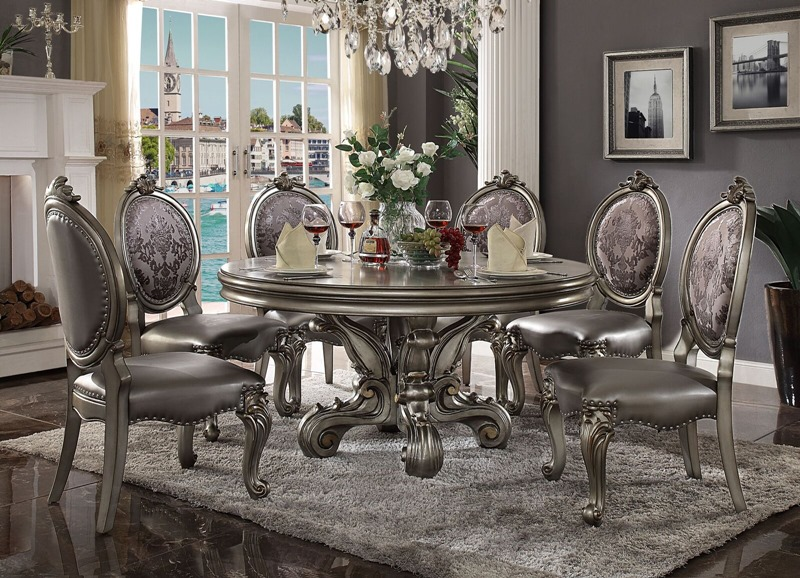 Versailles Round Formal Dining Room Set in Platinum