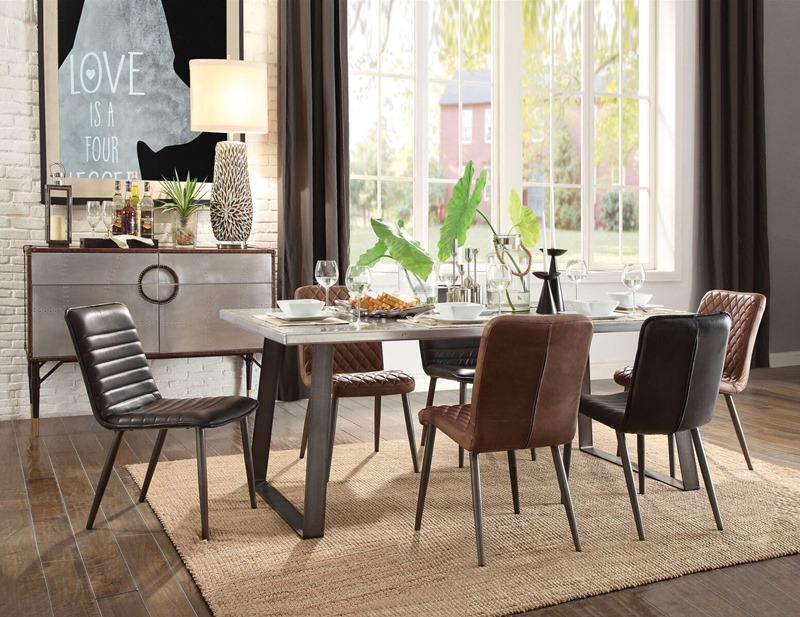 Kaylia Dining Room Set with Black Leather Chairs