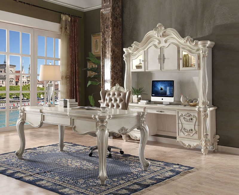 Versailles Computer Desk with Hutch in White