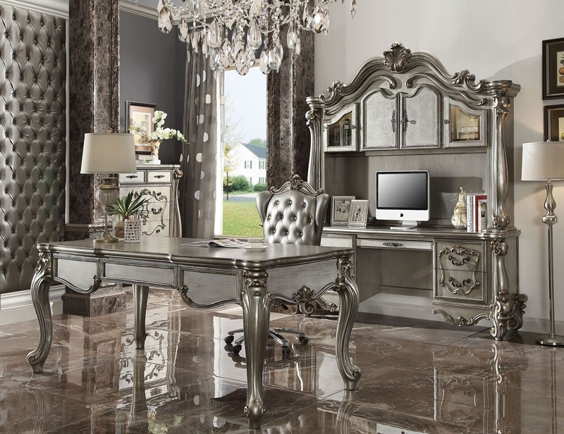 Versailles Computer Desk with Hutch in Platinum