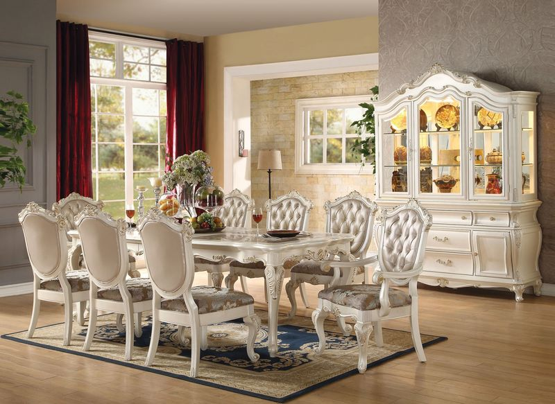 Chantelle Formal Dining Room Set in White Von Furniture  and Kitchen
