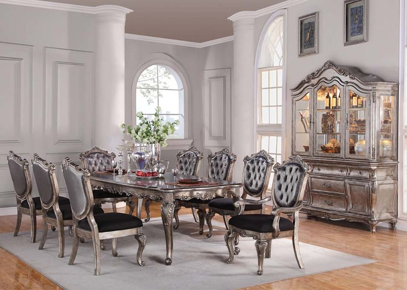 Chantelle Formal Dining Room Set in Platinum