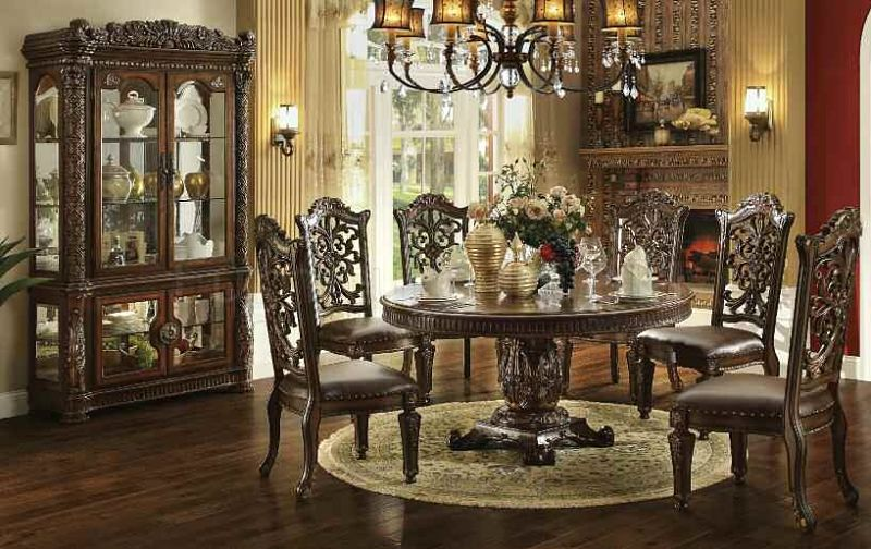 Vendome Large Round Formal Dining Room Set Von Furniture Tabitha with Pedestal Table