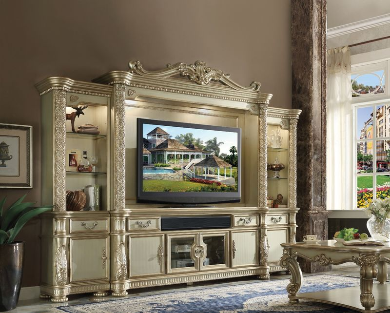 Vendome Entertainment Center in Gold