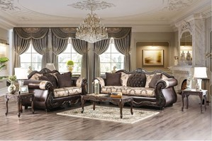 Aversa Formal Living Room Set in Brown