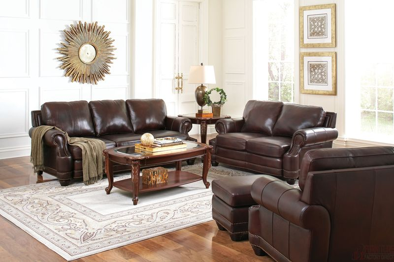 Crawford Leather Living Room Set