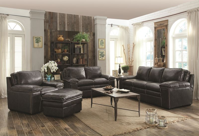 Regalvale Leather Living Room Set in Charcoal