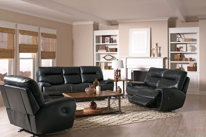 Sartell Reclining Leather Living Room Set with Power Motion