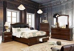 Merida Bedroom Set in Brown Cherry with Storage Drawers