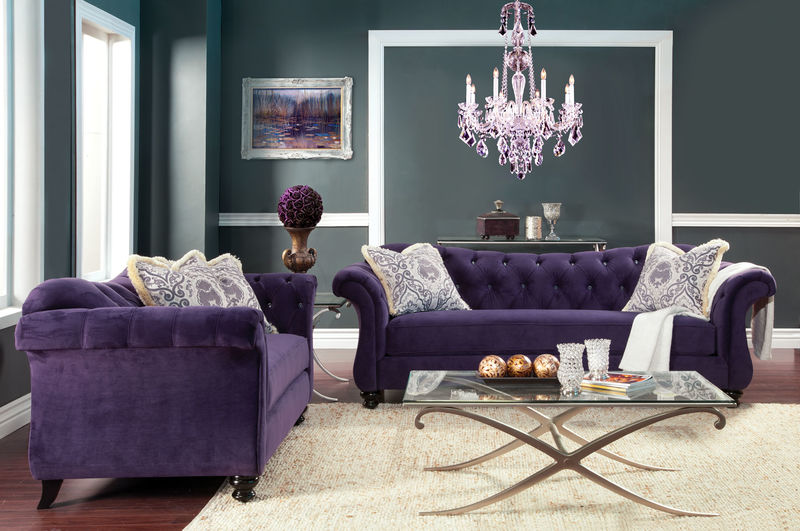antoinette living room set in purple - Living Room Sets For Cheap