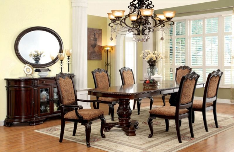 Superbe Bellagio Formal Dining Room Set With Fabric Upholstered Chairs