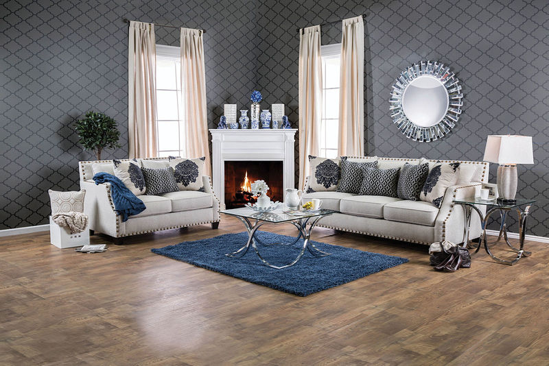 Cornelia Formal Living Room Set in Beige