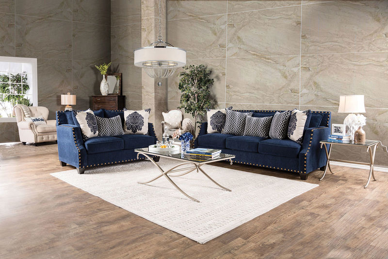 Cornelia Formal Living Room Set in Navy