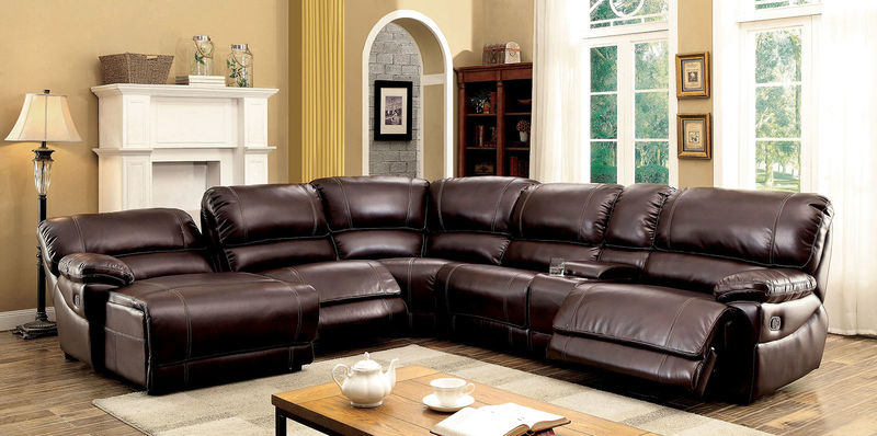 Estrella Reclining Sectional in Brown