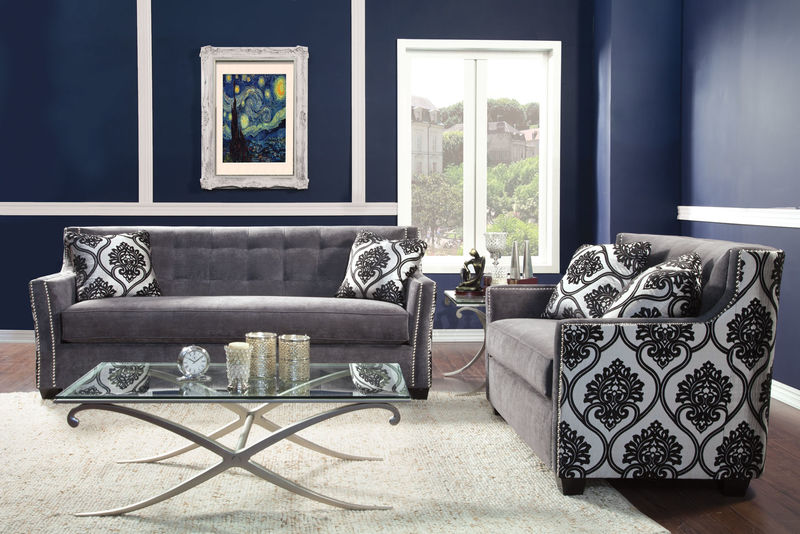 Federico Living Room Set in Charcoal