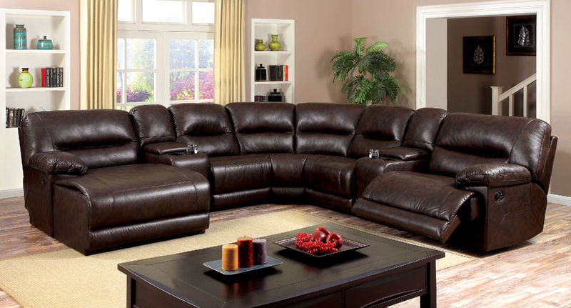 Glasgow Reclining Sectional in Leath-Aire