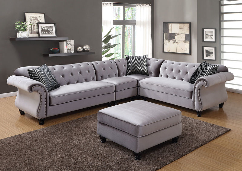 Jolanda Sectional Sofa in Gray