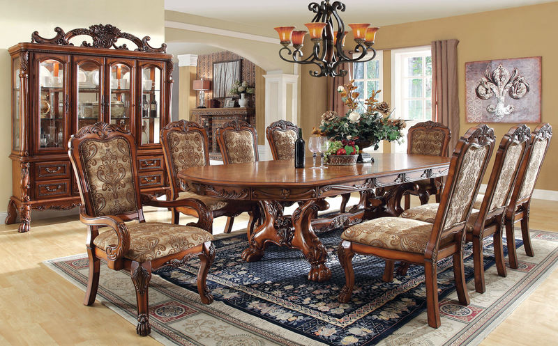 Medieve Formal Dining Room Set in Antique Oak