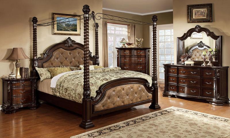 Monte Vista Canopy Bedroom Set in Brown