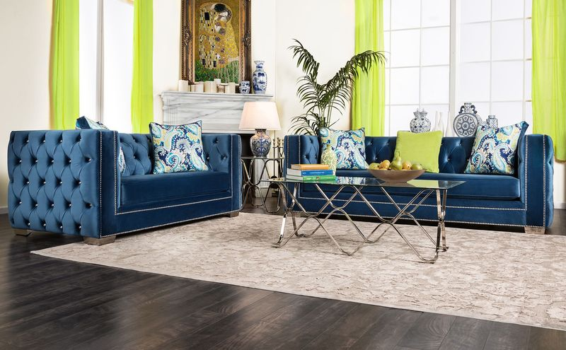 Salvatore Living Room Set in Lapis